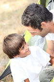 Father and son at camping — Stock Photo