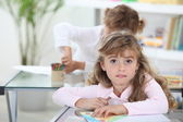 Two Young girls in class — Stock Photo