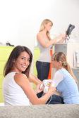 Trio of female students sharing flat — Stock Photo