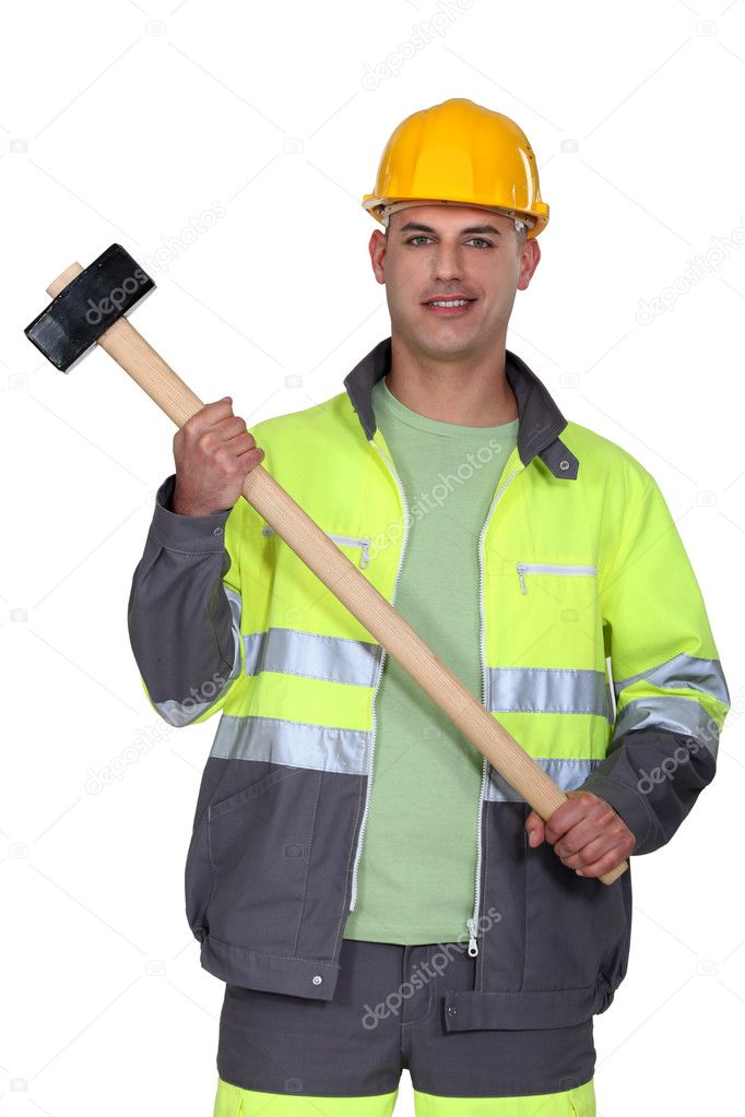 Builder holding sledge-hammer — Stock Photo #7912732