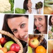 Healthy eating montage — Stock Photo