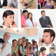 Collage showing office  workers — Stok fotoğraf