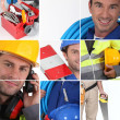 Mosaic of plumber with equipment — Stock Photo