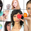 Mosaic of women holding various objects — Stock Photo