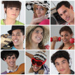 A collage of adolescents — Foto Stock