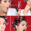 Woman in bathrobe with hair curlers - Stock Photo