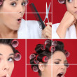Stock Photo: Womin bathrobe with hair curlers