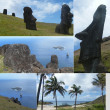 Stock Photo: Photo-montage of Easter Island