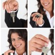 Stock Photo: Estate agent showing house keys