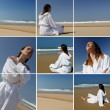 A woman in bathrobe on the beach - Stock Photo