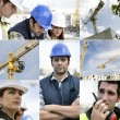 Stock Photo: Photo-montage of building workers on a site