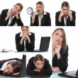 Stock Photo: Collage of expressive womoffice worker