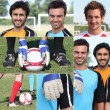 Photo-montage of young men playing football — Stock Photo
