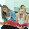 Two female students looking through work folders — Foto Stock