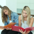 Two female students looking through work folders — Stok fotoğraf