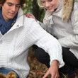 Young couple picking mushrooms — Stock Photo #7928509