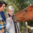 Royalty-Free Stock Photo: A couple and a horse asking for caress