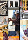 Mosaic of workers on a construction site — Stock Photo