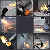 Montage of firefighter — Stock Photo