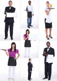 Shots of male and female workers in food and catering sector — Stock Photo