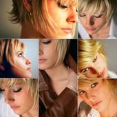 Portraits of a young blond woman — Stockfoto