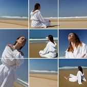 A woman in bathrobe on the beach — Stock Photo