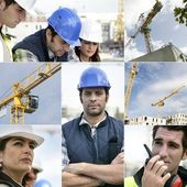 Photo-montage of building workers on a site — Stock Photo