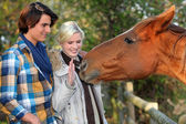 A couple and a horse asking for caress — Stock Photo