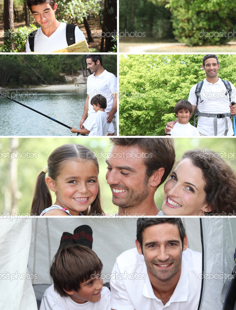 Collage illustrating a family camping holiday — Stock Photo #7925303