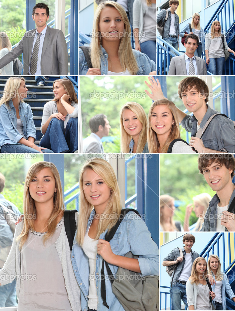 Teacher and pupils in a college  Stock Photo #7926048
