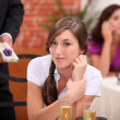 Lady in a restaurant — Stock Photo