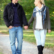 Foto Stock: Couple taking walk in park