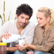Couple drinking milk — Stock Photo #7931475