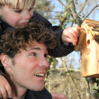 Father and son stood by bird-house - Foto Stock