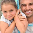 Portrait of a father and daughter - Stock Photo