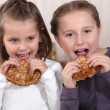 Royalty-Free Stock Photo: Girls eating pancakes