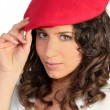 Brunette in red beret — Stock Photo #7934574