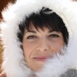 Woman with fluffy hood — Stock Photo
