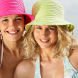 图库照片: Two women wearing bikinis and hats
