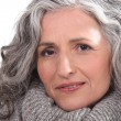 Portrait of a woman with thick grey hair — Stock Photo