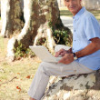 Man sitting on a tree stump and working on his laptop — Stock Photo #7935268