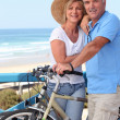 Foto Stock: Mature couple with bikes by beach