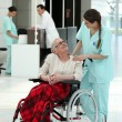 Stock Photo: Nurse with an elderly lady in a wheelchair