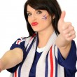 Female French football fan — Stock Photo