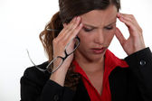 Woman having a headache — Stock Photo