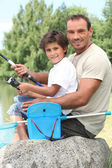 Father and son fishing — Stock Photo
