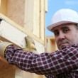 Man erecting wooden house — Stock Photo