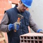Mason on construction site — Stock Photo