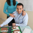 Couple in architect firm — Stock Photo