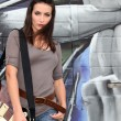 Foto de Stock  : Trendy female guitarist
